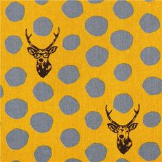 yellow echino samber canvas laminate fabric stag with polka dots from Japan 1