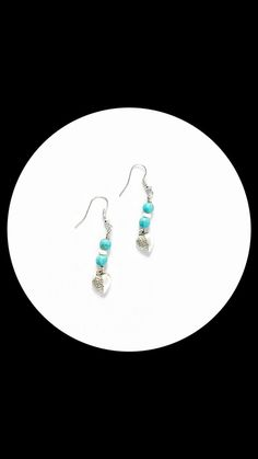 Heart and Brain Turquoise Earrings | Brain Earrings | Silver Earrings | Handmade Earrings | Beaded Earrings | Turquoise | Unique | Anatomy