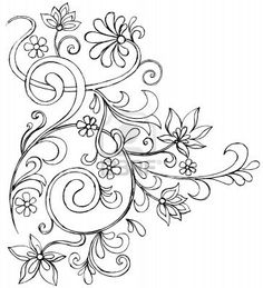 Sketchy Doodle Vines and Flowers Scroll Vector Drawing Stock Photo