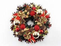 Christmas Wreath, Traditional Wreath, Handmade Wreath, Ornament Wreath, Pinecone Wreath, Candle decoration, Holiday Wreath,  Winter Wreath