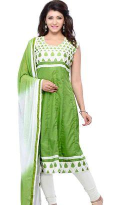 Pakistani Indian Green Cotton Anarkali Dresses, Dress