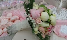 """....""""as sweet as a candy""""! nice bridal bouquet out of white and pink Peonies, Hydrangea, Roses and Pine."""