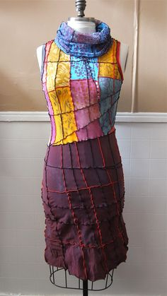 NEW Patchwork Sleeveless Dress L by sanssoucie on Etsy Love the cowl neck