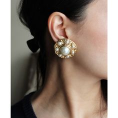 """""""CHRISTIAN DIOR"""" FAUX PEARL GOLD EARRING (VINTAGE)/ヴィンテージ・クリスチャン・ディオール・イヤリング"""