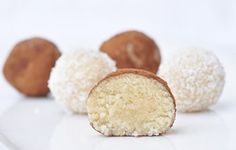 Anja's Food 4 Thought: Almond Coconut Balls (Aka Healthy Marzipan)- My coconut is dried so I always need more agave nectar.. or honey