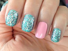 Blue And Silver Sparkle Nails With Pale Pink Accent Nails