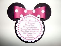Minnie Mouse Die Cut Invitation in Pink by SilverOrchidGraphics, $50.00