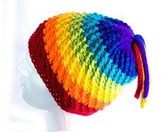 Crochet Festival Beanie Hat Rainbow by ChristineCafferkey on Etsy