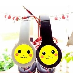 Now you can hang Pikachu on your ears everyday~ Creative Pokemon Products - Pikachu Cute Big Head Earphone (3.5mm) for Samsung and iPhone MP3 Player (2 Colors) - Pokemon Music & Pokemon Earphone