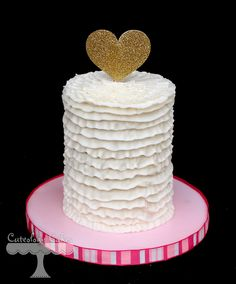 buttercream ruffle smash cake for a first birthday. Vintage ruffles with gold heart topper. www.facebook.com/i.love.cuteology.cakes