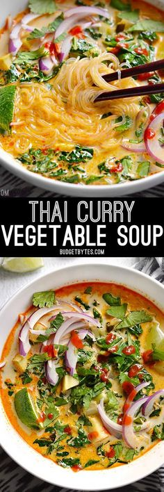 Thai Curry Vegetable Soup is packed with vegetables, spicy Thai flavor, and creamy coconut milk.(Vegan Curry Thai)