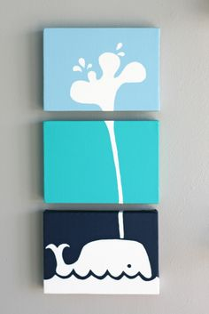 whale canvases. i really want to do this! doesnt take too much artistic talent