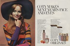 Coty cosmetics. Early 1970s. ADSAUSAGE - vintage advertising library. Vintage Makeup Ads, Vintage Beauty, Vintage Ads, 1970s Clothing, 60s And 70s Fashion, Body Adornment, Vintage Advertisements, Pop Culture, Advertising