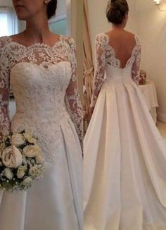 $199-Lace Long Sleeves A-line Wedding Dresses Beading Satin Open Back Court Train Bridal Gowns