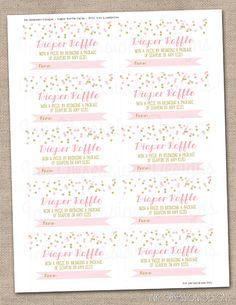 Pink U0026 Gold Confetti Instant Download Diaper Raffle Ticket Printable PDF