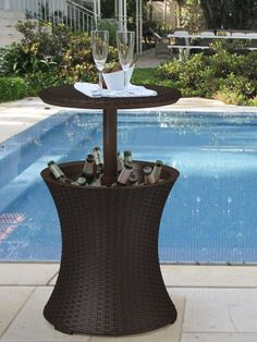 Pool Side Portable Ice Cooler Beverage Stand Bar Table Patio Furniture Lounge