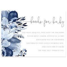 Blue Florals Book Request Card | Forever Your Prints