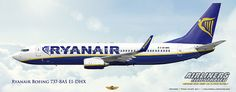 Ryanair Boeing 737-8AS EI-DHX Airliners Illustrated® by Nick Knapp©