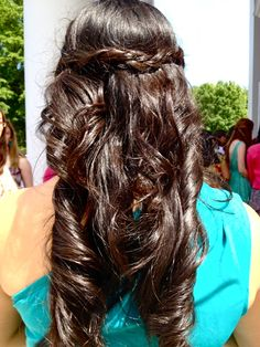 Easy to do: Elegant Double Braids and Curls using a flat iron!  Create two braids on the sides then bobby pin them under/over each other! (Optional:Tug on both sides of the braids for a thicker braid!)