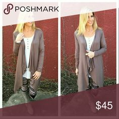Taupe Waterfall Cardigan **COMING SOON** Beautiful dark taupe waterall cardigan! Very versatile style with a great neutral color that will go with everything!   **Looks adorable with the soft mixed print leggings!** (see listing)  More details coming soon!! Tops