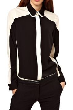 Mono Color Block Style Contrast Trim Concealed Button Fly Shirt