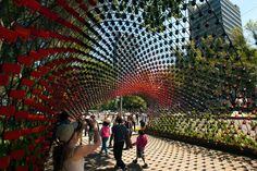Portal of awareness made from 1500 metal cups, Mexico
