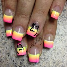 Neon Pink and Yellow Ombre French Nails With a Couple of Deer Deer Nails, Camo Nails, Camouflage Nails, Gradient Nails, Fun Nails, Pretty Nails, Acrylic Nails, Ombre French Nails, Country Nails