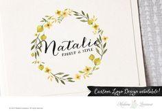 premade logo design flower wreath logo by MadameLevasseur on Etsy
