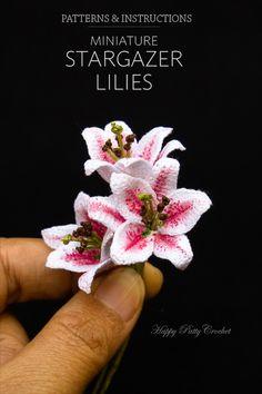 Crochet pattern for a miniature Stargazer Lily by Happy Patty Crochet