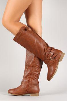 Tan Thin Straps Almond Toe Mid Calf Ridding Boots
