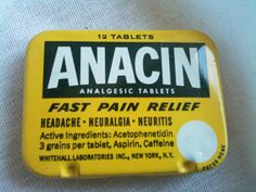 Vintage Retro 1950s 1960s Yellow Travel Anacin 12 Tablet Tin