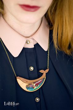 Pinocchio Necklace. / Collar Pinocho. Natural wood by LaliblueShop