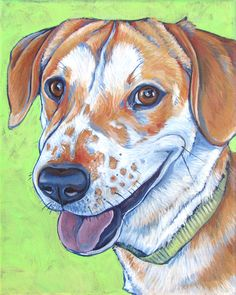 Red and White Foxhound and Pit Bull Mix 8x10 Custom Pet Portrait Acrylic on Canvas,  see more at www.petportraitsbybethany.com #dogart #petportrait #dogpainting #petmemorial #petgift #doglover #petpainting #petart #foxhound #pitbull