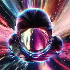 flying space man astronaut in a worm hole amazing colorful digital artwork futuristic by visualdon Space Artwork, Wallpaper Space, Retro Wallpaper, Galaxy Wallpaper, Astronaut Wallpaper, New Retro Wave, 3d Video, Futuristic Art, Cyberpunk Art
