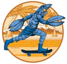 Alien Baltan Skate Team  I just finished this, as mentioned in a previous post, in the illustration style I used to primarily work in. Had fun with this one.