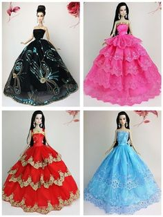 vestidos e roupinhas de luxo para barbie + par de sapatos !