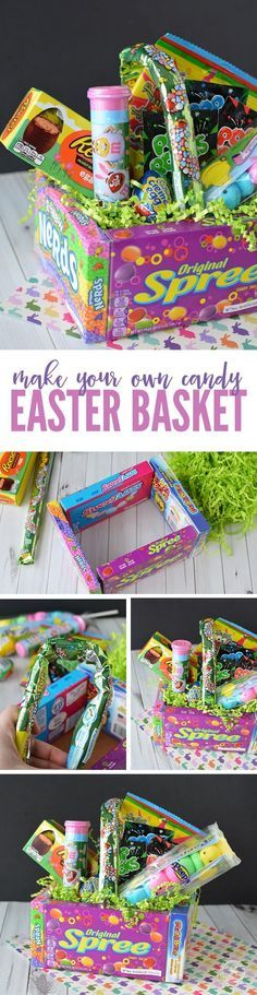 DIY Candy Easter Basket! An easy and creative way to make a FUN Easter Basket as a gift this year! These make a great Teacher Gift too! #passion4savings #easterdiy #easterhacks
