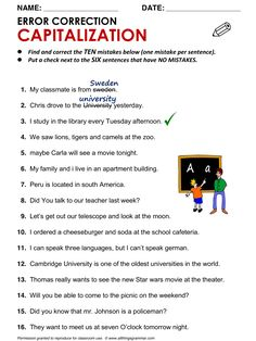 English Grammar Worksheet Error Correction: Capitalization http://www.allthingsgrammar.com/capitalization.html