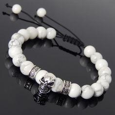 Men's Women Braided Bracelet White Howlite Sterling Silver Skull DIY-KAREN 814 #Handmade #MensWomenGemstoneSterlingSilverBracelet