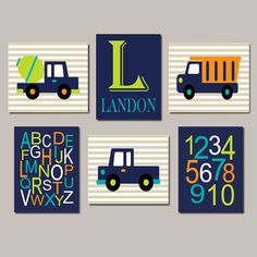 CONSTRUCTION Trucks Boy Nursery Decor Initial by LovelyFaceDesigns