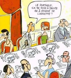 "33 Rules of Dining and Table Etiquette in France. In the comic he is saying ""where do I put my cell phone, on the left or the right of the plate"" French Teacher, Teaching French, Cena Formal, Am Laufenden Band, Learn To Speak French, Funny French, Ap French, French Classroom, Ways Of Learning"