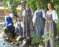 Girls from a folk group in Russian national sarafans (a kind of sleeveless dresses). #folk #Russian #national #costume