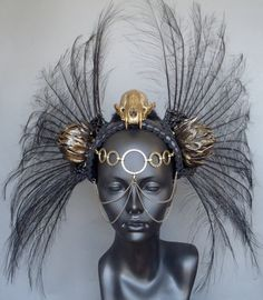 SOLD Gold Skull & Black Feather Headdress by MissGDesignsShop, $325.00