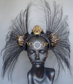 MADE TO ORDER Gold Skull Black Feather Headdress Warrior. $325.00, via Etsy.