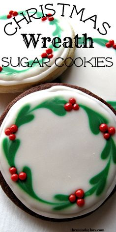Christmas Wreath Sugar Cookies with easy to make Christmas wreath icing decorations. These cookies are beautiful gifts and delicious holiday treats!