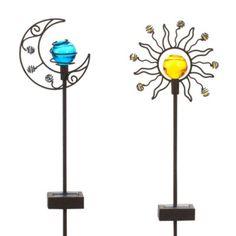Solar Sun & Moon Garden Stake Set - BedBathandBeyond.com