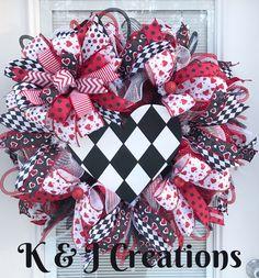 Red, White, & Black Valentines Deco Mesh Wreath, Harlequin heart