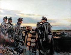 """Piłsudski w okopach pod Kostiuchnówką"""" – obraz Stefana Gerwatowskiego"""
