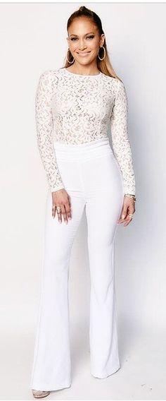 Jennifer Lopez: Shirt – Mischa Collection Pants – Rachel Zoe Shoes – Giuseppe Zanotti Earrings – Jacob & Co Jennifer Lopez, J Lo Fashion, Womens Fashion, Fashion Tips, Rachel Zoe, White Outfits, Cool Outfits, Fashionable Outfits, White Pants