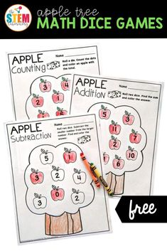 These apple tree math dice games are sure to be a favorite for your learners this fall too as they roll and color their way to number sense and fact fluency. The games are perfect for Pre-K and Kindergarten, and even early 1st grade students building up their counting, addition, and subtraction skills! #earlyelementary #prek #kindergarten #firstgrade Apple Activities, Autumn Activities, Literacy Activities, Math Literacy, Literacy Centers, Roll A Die, Apples To Apples Game, Dice Games, Free Math